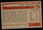 1954 Bowman #100  Mike Garcia  Back Thumbnail
