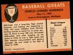 1961 Fleer #32  Charlie Gehringer  Back Thumbnail