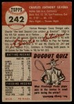 1953 Topps #242  Charlie Silvera  Back Thumbnail