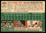 1954 Topps #41  Willie Jones  Back Thumbnail