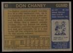 1971 Topps #82  Don Chaney   Back Thumbnail