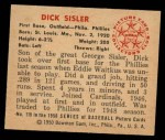 1950 Bowman #119  Dick Sisler  Back Thumbnail
