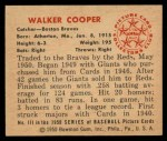 1950 Bowman #111  Walker Cooper  Back Thumbnail