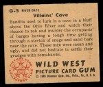 1949 Bowman Wild West #5 G  Villians' Cave Back Thumbnail