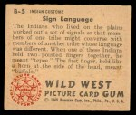 1949 Bowman Wild West #5 B  Sign Language Back Thumbnail