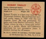 1950 Bowman #55  Robert Tinsley  Back Thumbnail