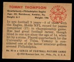 1950 Bowman #95  Tom Thompson  Back Thumbnail