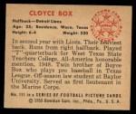 1950 Bowman #111  Cloyce Box  Back Thumbnail