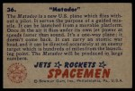 1951 Bowman Jets Rockets and Spacemen #36   Matador Back Thumbnail