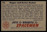 1951 Bowman Jets Rockets and Spacemen #75   Bigger and Better Rocket Back Thumbnail