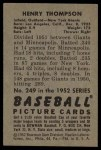 1952 Bowman #249  Hank Thompson  Back Thumbnail