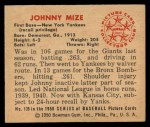 1950 Bowman #139  Johnny Mize  Back Thumbnail