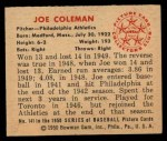 1950 Bowman #141  Joe Coleman  Back Thumbnail