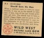 1949 Bowman Wild West #1 F  Sheriff Gets His Man Back Thumbnail