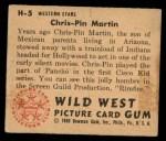 1949 Bowman Wild West #5 H Chris-Pin Martin  Back Thumbnail