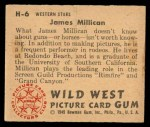 1949 Bowman Wild West #6 H James Millican  Back Thumbnail