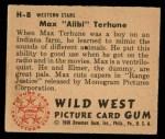 1949 Bowman Wild West #8 H Max Alibi Terhune  Back Thumbnail