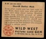 1949 Bowman Wild West #9 F  Sheriff Defies Mob Back Thumbnail