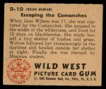 1949 Bowman Wild West #10 D  Escaping the Commanches Back Thumbnail
