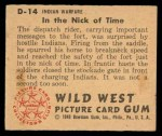 1949 Bowman Wild West #14 D  In the Nick of Time Back Thumbnail