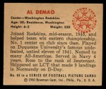 1950 Bowman #65  Al Demao  Back Thumbnail