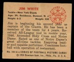 1950 Bowman #140  Jim White  Back Thumbnail