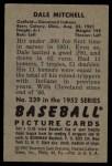 1952 Bowman #239  Dale Mitchell  Back Thumbnail