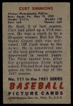 1951 Bowman #111  Curt Simmons  Back Thumbnail