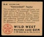 1949 Bowman Wild West #4 H Cannonball Taylor  Back Thumbnail