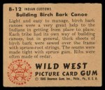 1949 Bowman Wild West #12 B  Building Birch Bark Canoe Back Thumbnail