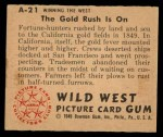 1949 Bowman Wild West #21 A  The Gold Rush is On Back Thumbnail