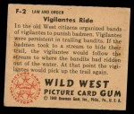 1949 Bowman Wild West #2 F  Vigilantes Ride Back Thumbnail