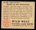 1949 Bowman Wild West #10 A  Death at the Waterhole Back Thumbnail