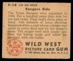 1949 Bowman Wild West #14 F  Rangers Ride Back Thumbnail