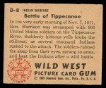 1949 Bowman Wild West #8 D  Battle of Tippecanoe Back Thumbnail