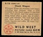 1949 Bowman Wild West #15 E  Chuck Wagon Back Thumbnail