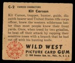 1949 Bowman Wild West #2 C Kit Carson  Back Thumbnail