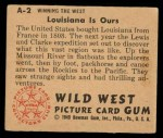 1949 Bowman Wild West #2 A  Louisiana is Ours Back Thumbnail