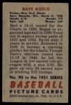 1951 Bowman #90  Dave Koslo  Back Thumbnail