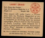 1950 Bowman #10  Larry Craig  Back Thumbnail