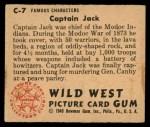 1949 Bowman Wild West #7 C Captain Jack  Back Thumbnail