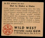 1949 Bowman Wild West #22 A  Out to Stake a Claim Back Thumbnail