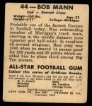 1948 Leaf #44  Bob Mann  Back Thumbnail