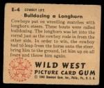 1949 Bowman Wild West #4 E  Bulldozing Longhorn Back Thumbnail