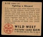 1949 Bowman Wild West #10 E  Fighting Blizzard Back Thumbnail