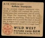 1949 Bowman Wild West #15 A  Buffalo Stampede Back Thumbnail