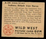 1949 Bowman Wild West #29 A  Indians Attack Iron Horse Back Thumbnail