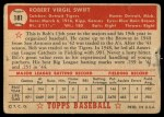 1952 Topps #181  Bob Swift  Back Thumbnail
