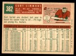 1959 Topps #382  Curt Simmons  Back Thumbnail