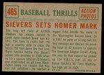 1959 Topps #465   -  Roy Sievers Sets Homer Mark Back Thumbnail